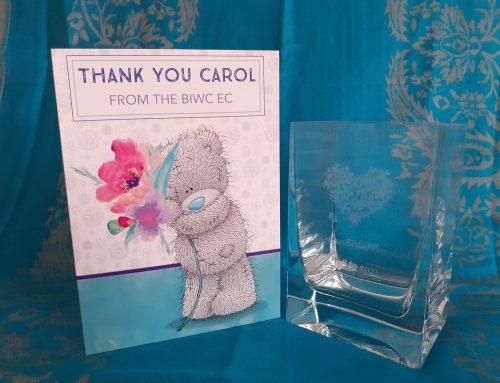 Thank You Carol – BIWC's President for 3+ Years